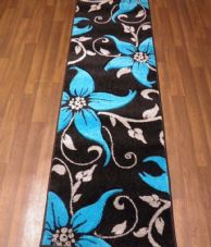 Runners 60x220cm Aprox 8ft Hand Carved Top Quality Lily Design Black/Teal Rug